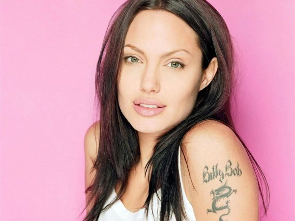 Angelina-jolie with billy-bob-tattoo on arm